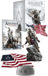 Assassin's Creed 3 prizes including a Connor statue, flag, belt buckle and game